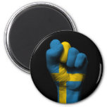 Raised Clenched Fist with Swedish Flag 2 Inch Round Magnet