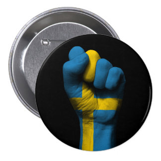 Raised Clenched Fist with Swedish Flag 3 Inch Round Button
