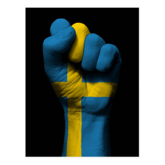 Raised Clenched Fist with Swedish Flag Postcard