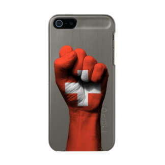 Raised Clenched Fist with Swiss Flag Incipio Feather® Shine iPhone 5 Case