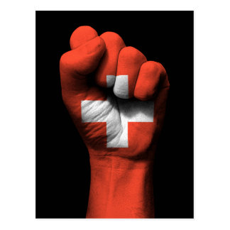 Raised Clenched Fist with Swiss Flag Postcard