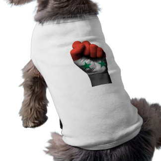 Raised Clenched Fist with Syrian Flag Dog T-shirt
