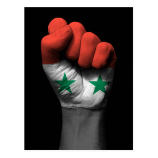 Raised Clenched Fist with Syrian Flag Postcard