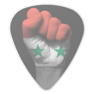 Raised Clenched Fist with Syrian Flag White Delrin Guitar Pick
