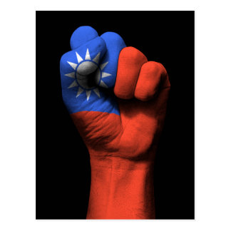Raised Clenched Fist with Taiwanese Flag Postcard