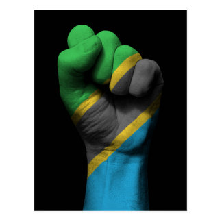 Raised Clenched Fist with Tanzanian Flag Postcard