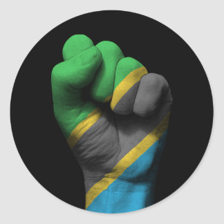 Raised Clenched Fist with Tanzanian Flag Round Sticker