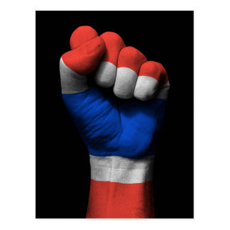 Raised Clenched Fist with Thai Flag Postcard