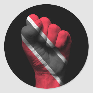 Raised Clenched Fist with Trinidadian Flag Classic Round Sticker