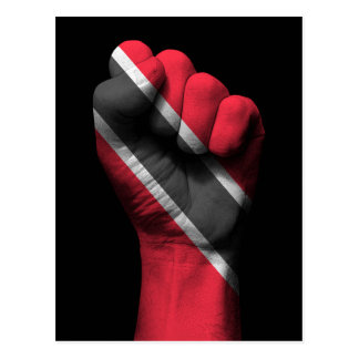 Raised Clenched Fist with Trinidadian Flag Postcard