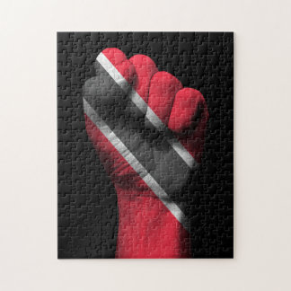 Raised Clenched Fist with Trinidadian Flag Jigsaw Puzzle