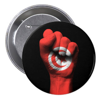 Raised Clenched Fist with Tunisian Flag 3 Inch Round Button