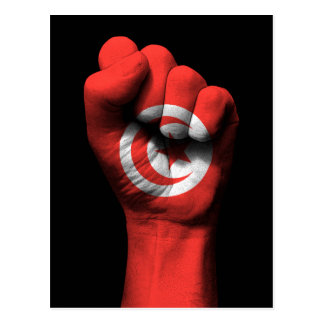 Raised Clenched Fist with Tunisian Flag Postcard