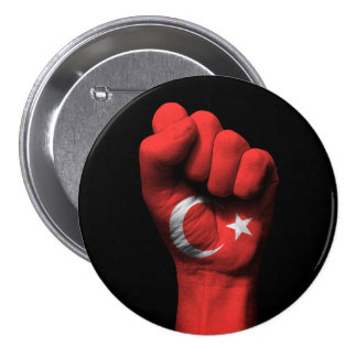 Raised Clenched Fist with Turkish Flag 3 Inch Round Button