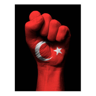 Raised Clenched Fist with Turkish Flag Postcard