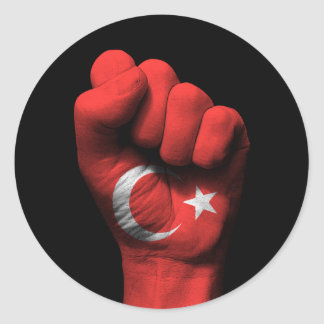 Raised Clenched Fist with Turkish Flag Round Sticker