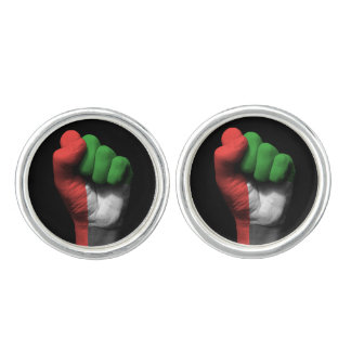 Raised Clenched Fist with UAE Flag Cufflinks