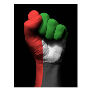 Raised Clenched Fist with UAE Flag Postcard