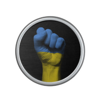 Raised Clenched Fist with Ukrainian Flag Bluetooth Speaker