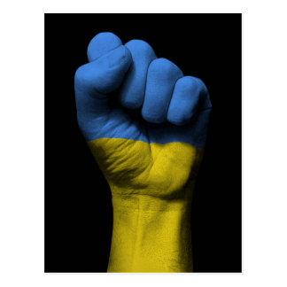 Raised Clenched Fist with Ukrainian Flag Postcard