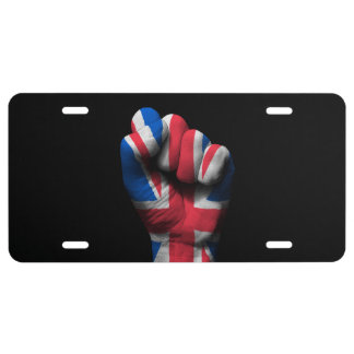 Raised Clenched Fist with Union Jack Flag License Plate