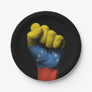 Raised Clenched Fist with Venezuelan Flag Paper Plate