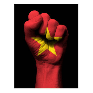 Raised Clenched Fist with Vietnamese Flag Postcard