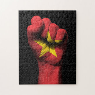 Raised Clenched Fist with Vietnamese Flag Jigsaw Puzzle