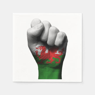 Raised Clenched Fist with Welsh Flag Paper Napkin