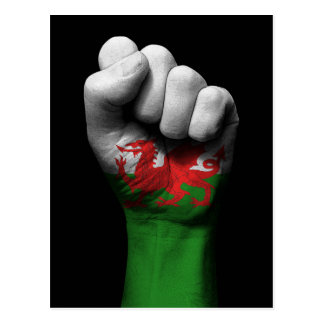 Raised Clenched Fist with Welsh Flag Postcard