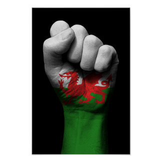 Raised Clenched Fist with Welsh Flag Poster