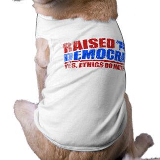 Raised Democrat. Yes ethics do matter Faded.png Dog Shirt