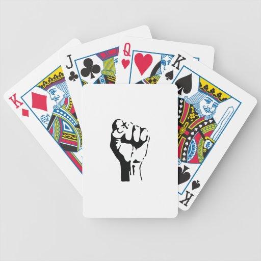 raised fist bicycle card decks