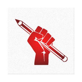 Raised Fist Holding a Pencil Canvas Print