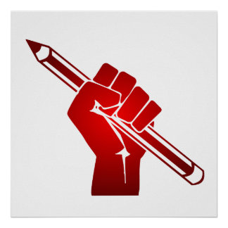 Raised Fist Holding Pencil Poster