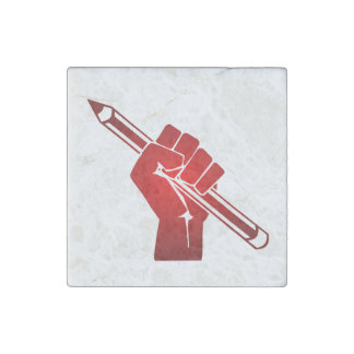 Raised Fist Holding Pencil Stone Magnet