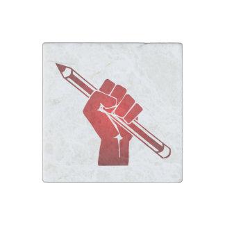 Raised Fist Holding Pencil Stone Magnet