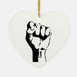 Raised Fist of Defiance/Resistance Ceramic Ornament