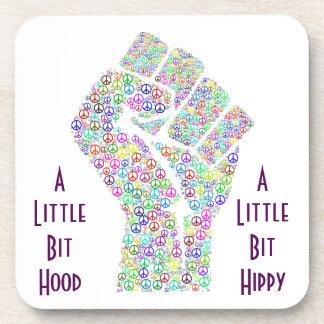 Raised fist of peace hippy style coaster