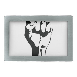 raised fist rectangular belt buckle