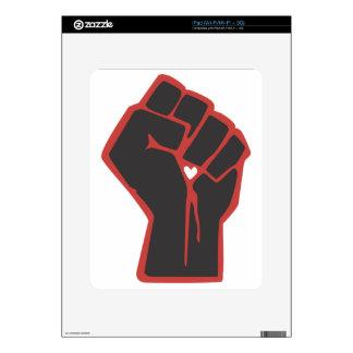 Raised Fist Revolutionary Heart Decals For iPad