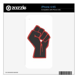 Raised Fist Revolutionary Heart iPhone 4S Decal