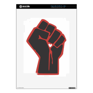 Raised Fist Revolutionary Heart Skins For The iPad 2