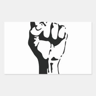 raised fist rectangular stickers