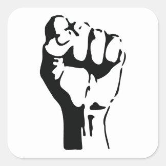 raised fist square sticker