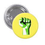 Raised Green Fist Fight Climate Change Pinback Button