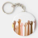 Raised Hands Basic Round Button Keychain