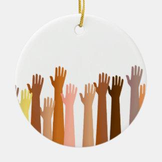 Raised Hands Ceramic Ornament