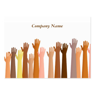Raised Hands, Company Name Large Business Cards (Pack Of 100)