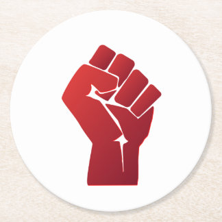 Raised Red Gradient Fist Round Paper Coaster
